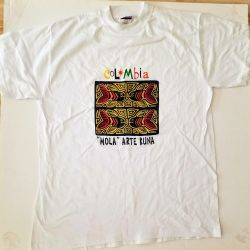 T-shirt White, stamp ornament  (Colombia)