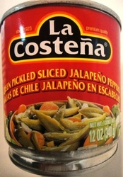 Green Pickled Sliced Jalapeno peppers 12oz La Cost